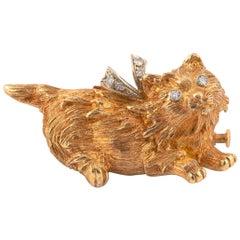 Diamond and 18 Karat Gold Cat Brooch