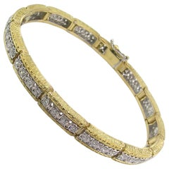 Diamond and 18 Karat Gold Florentine Engraved Bracelet, Made in Italy