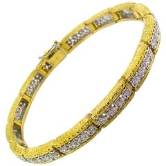 Diamond and 18 Karat Gold Florentine Engraved Bracelet, Made in Italy