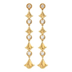 Diamond and 18 Karat Gold Pendant Earrings by Marina B.