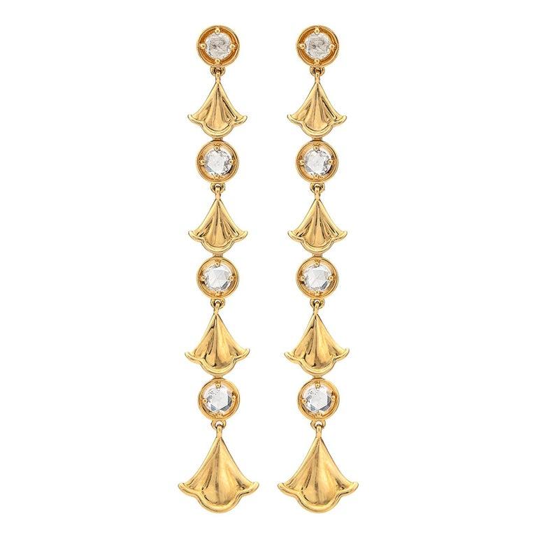 Diamond and 18 Karat Gold Pendant Earrings by Marina B. For Sale