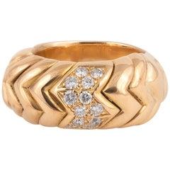 Diamond and 18 Karat Gold Spiga Ring, Bulgari