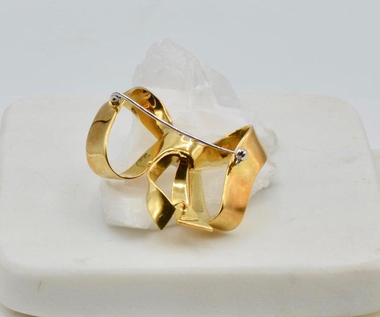 Modernist Diamond and 18 Karat Italian Ribbon Bow Brooch For Sale