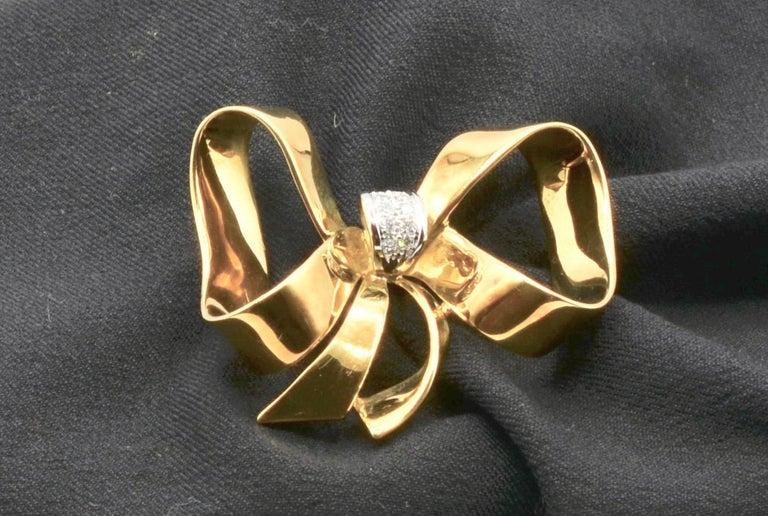 Diamond and 18 Karat Italian Ribbon Bow Brooch For Sale 1