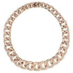 Diamond and 18 Karat Rose Gold Link Necklace
