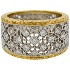 Diamond and 18 Karat White and Yellow Gold Filigree Etched Band