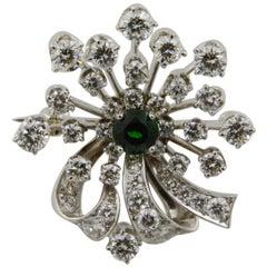 Diamond and 18 Karat White Gold and Platinum Starburst Pin