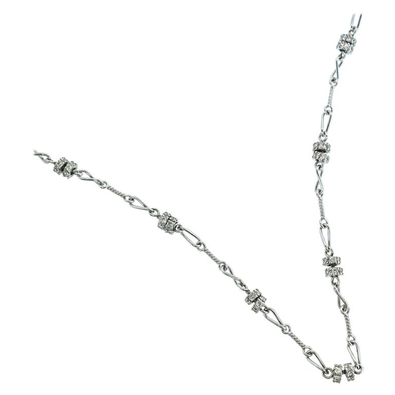 Diamond and 18 Karat White Gold Chain Necklace For Sale