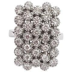 Diamond and 18 Karat White Gold Cocktail Ring