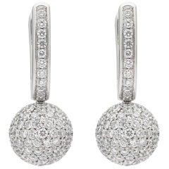 Diamond and 18 Karat White Gold Earrings by Gubelin