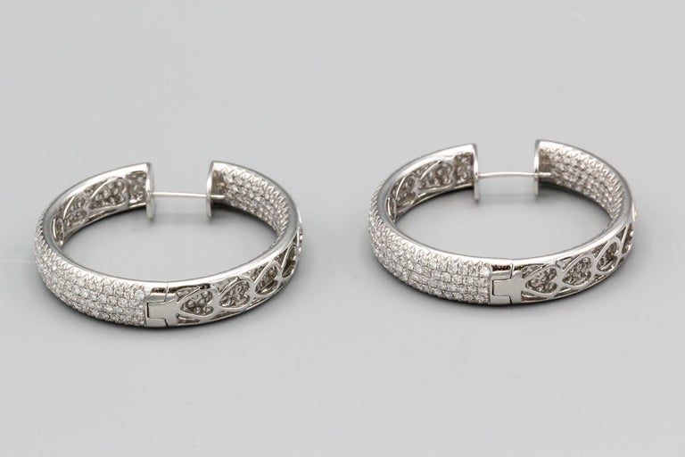 Diamond and 18 Karat White Gold Inside Out Hoop Earrings In Excellent Condition For Sale In New York, NY