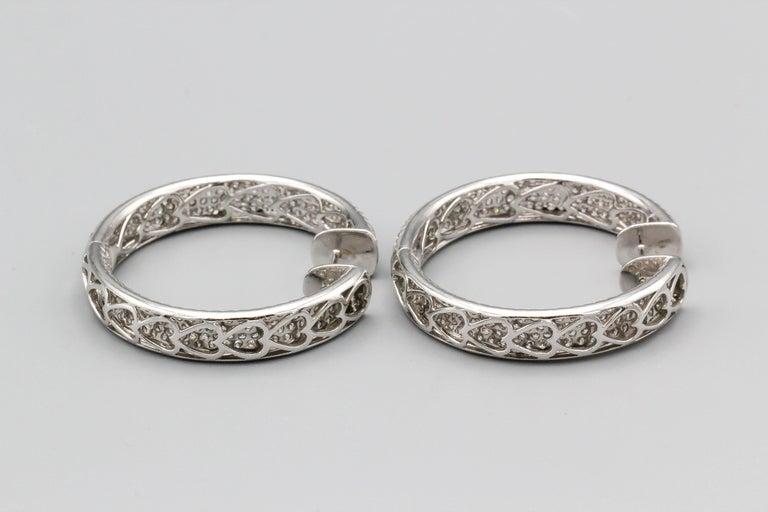 Women's Diamond and 18 Karat White Gold Inside Out Hoop Earrings For Sale
