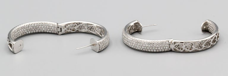 Diamond and 18 Karat White Gold Inside Out Hoop Earrings For Sale 1