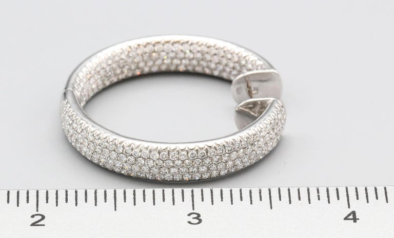 Diamond and 18 Karat White Gold Inside Out Hoop Earrings For Sale 3