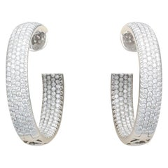 Diamond and 18 Karat White Gold Inside Out Hoop Earrings