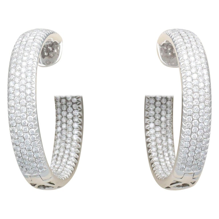 Diamond and 18 Karat White Gold Inside Out Hoop Earrings For Sale