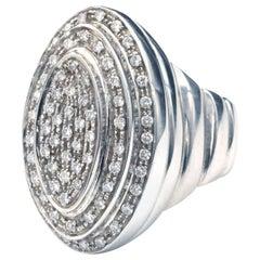 Modern  18 Karat White Gold and Diamond Ring