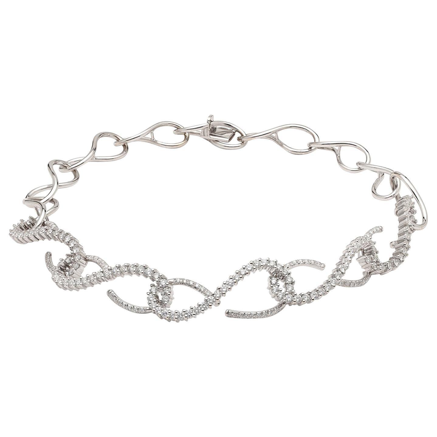 Diamond and 18 Karat White Gold Necklace
