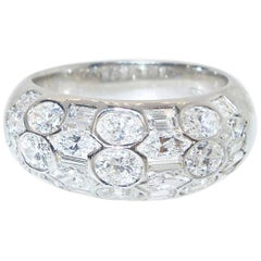 Diamond and 18 Karat White Gold Ring
