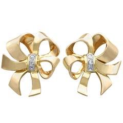 Diamond and 18 Karat Yellow Gold Bow Earrings, Vintage, circa 1940
