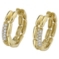 Diamond and 18k Yellow Gold Clip Back Hoop Earrings