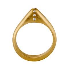 Diamond and 18 Karat Yellow Gold Contemporary Medieval Stirrup Ring