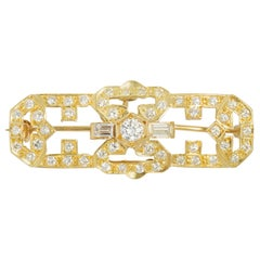 Diamond and 18 Karat Yellow Gold Convertible Brooch