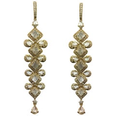 Diamond and 18 Karat Yellow Gold Dangling Earrings