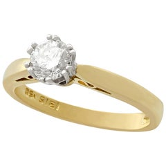 Diamond and 18 Karat Yellow Gold Solitaire Engagement Ring