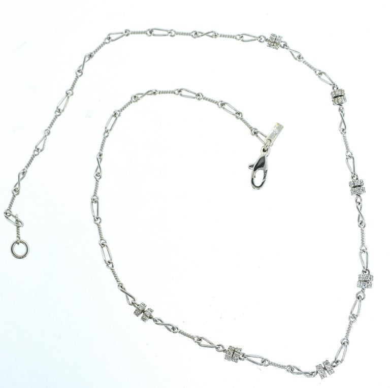 Contemporary Diamond and 18 Karat White Gold Chain Necklace For Sale