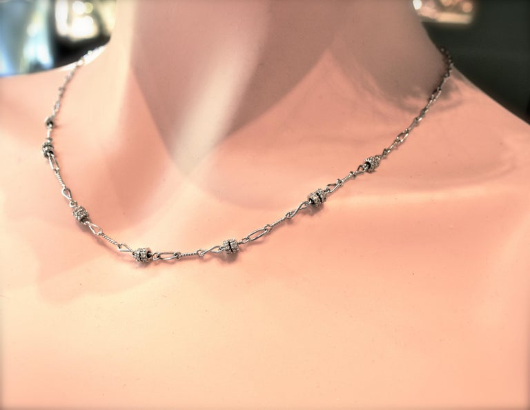 Women's or Men's Diamond and 18 Karat White Gold Chain Necklace For Sale