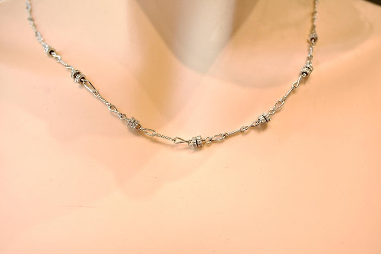 Diamond and 18 Karat White Gold Chain Necklace For Sale 1