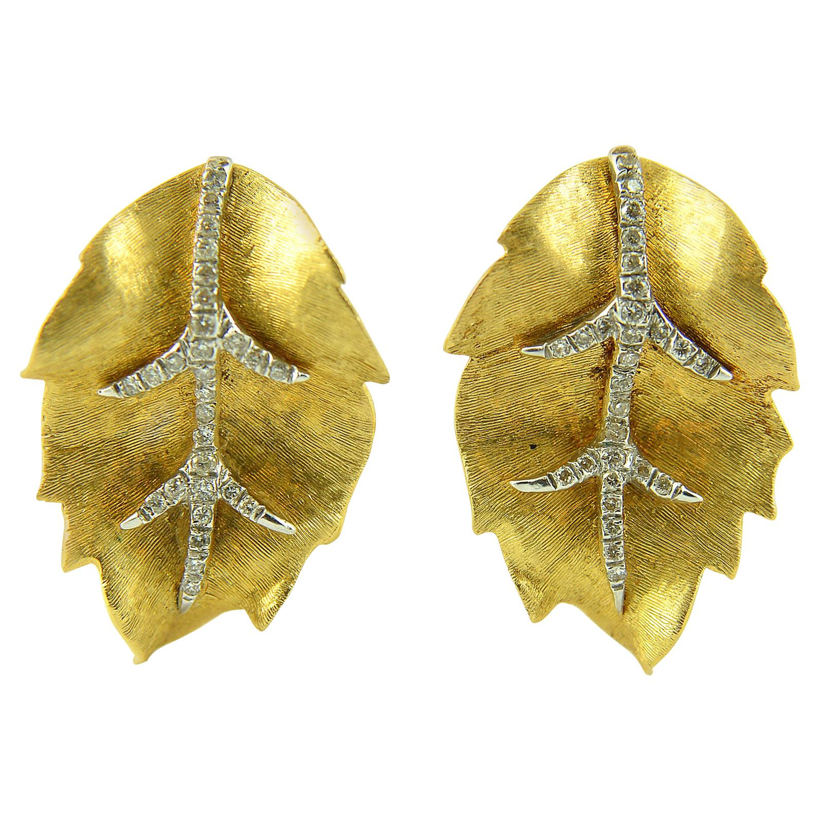 Diamond and 18k Yellow Gold Leaf Earrings