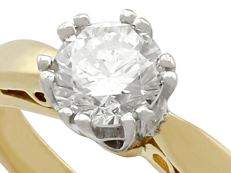 Diamond and 18 Karat Yellow Gold Solitaire Engagement Ring In Excellent Condition In Jesmond, Newcastle Upon Tyne