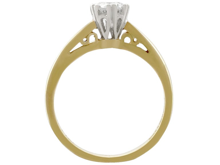 Diamond and 18 Karat Yellow Gold Solitaire Engagement Ring 1