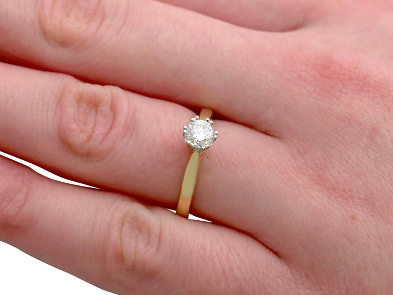Diamond and 18 Karat Yellow Gold Solitaire Engagement Ring 3