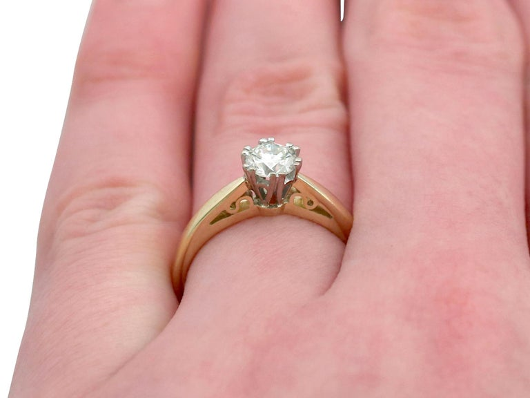 Diamond and 18 Karat Yellow Gold Solitaire Engagement Ring 4