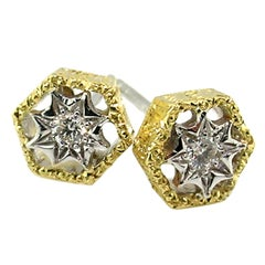 Diamond and 18kt Engraved Honeycomb Stud Earrings, Handmade in Italy