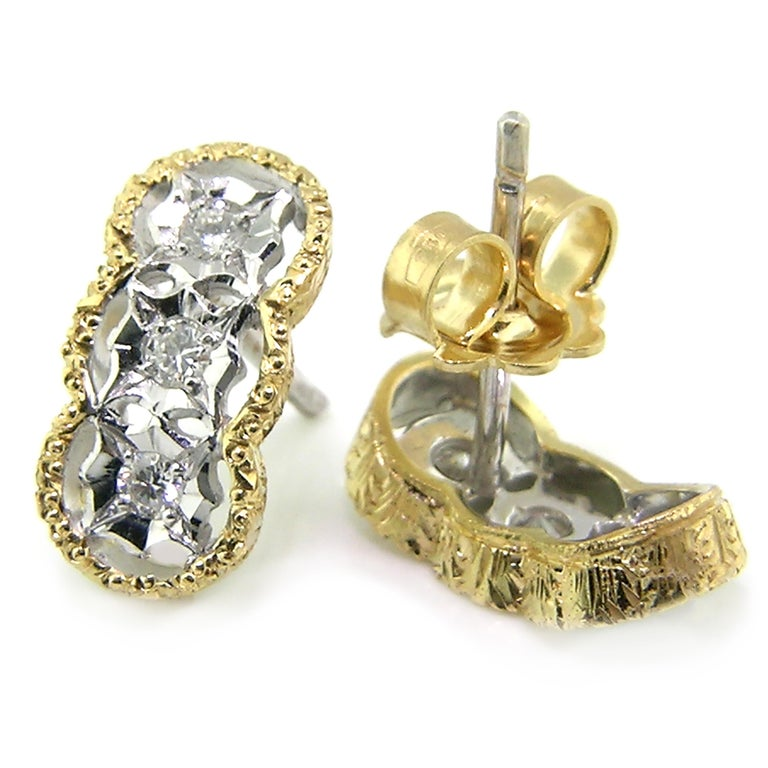 Round Cut Diamond and 18kt Hand-Engraved Stud Earrings, Handmade in Italy For Sale