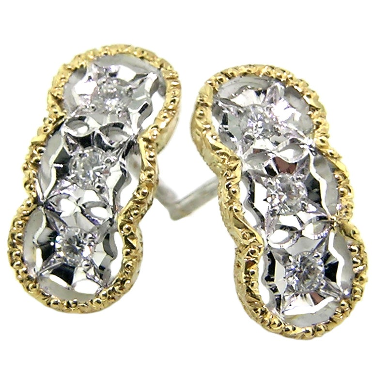 Diamond and 18kt Hand-Engraved Stud Earrings, Handmade in Italy For Sale