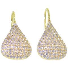 Diamond and 20 Karat Yellow Gold Pendant Style Earrings
