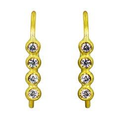 Diamond and 22 Karat Gold Vertical Bubble Drop Earrings