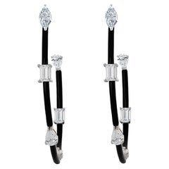 Diamond and Agate Inside Out Hoop Earrings