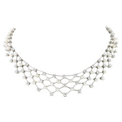 Diamond and Akoya Cultured Pearls Necklace in 950 Platinum