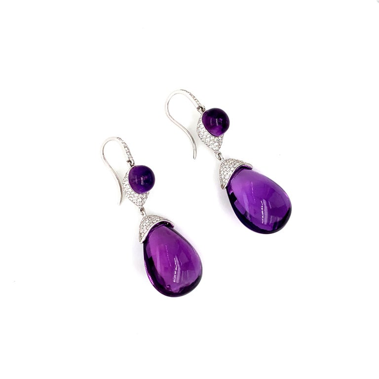 Round Cut Diamond and Amethyst Earrings 18 Karat White Gold For Sale