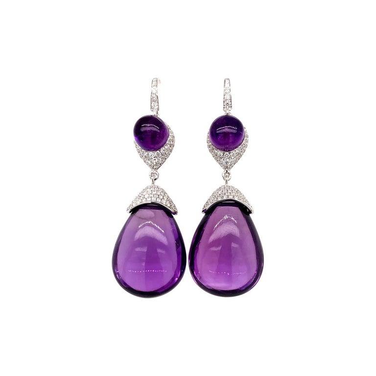 Diamond and Amethyst Earrings 18 Karat White Gold For Sale
