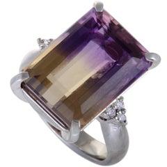 Diamond and Ametrine Platinum Ring