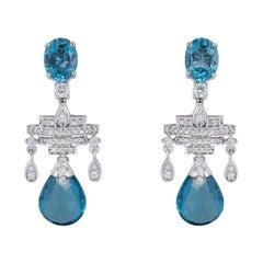 Diamond and Aquamarine Drop Earrings