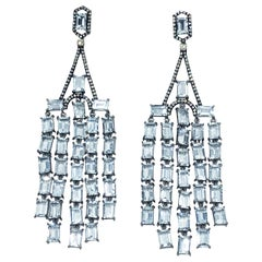 Diamond and Aquamarine Silver and Rhodium Plated Dangle Earrings