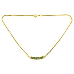 Diamond and Baguette Cut Emerald Bar Yellow Gold Necklace